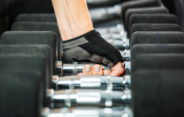 Picture hand, fitness, gloves, fingers, dumbbells