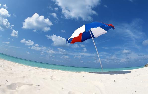 Picture sand, sea, clouds, shore, umbrella