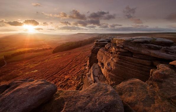 Picture desert, rocks, Sunshine day