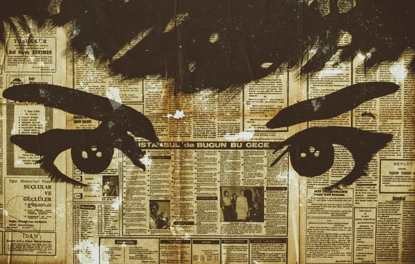 Picture eyes, background, newspaper