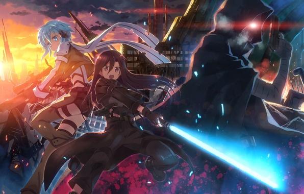 Picture look, weapons, girls, destruction, mask, guy, gesture, art, yuuki tatsuya, sword art online, kirigaya kazuto, …
