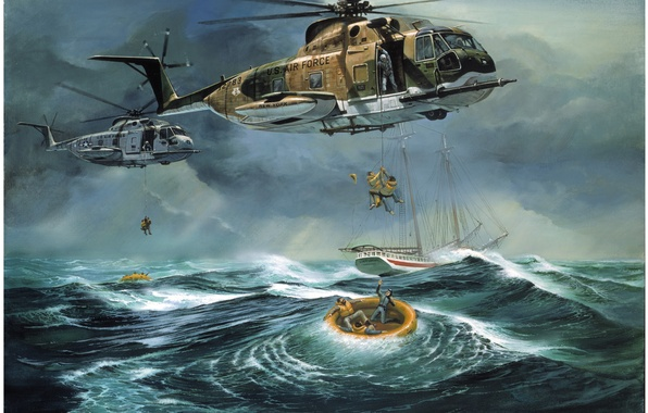 Picture people, the ocean, ship, helicopters, boats, salvation, Atlantic Ocean Rescue by Don Millsap