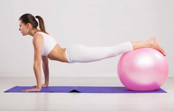 Picture ball, female, workout, pilates