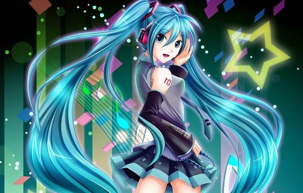 Picture look, girl, smile, music, headphones, vocaloid, hatsune miku, gesture, Vocaloid, art, oolong tea