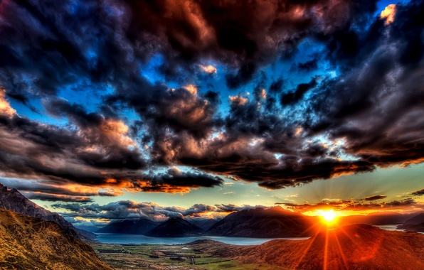 Picture MOUNTAINS, HORIZON, The SKY, The SUN, CLOUDS, RIVER, SUNSET, CLOUDS, LIGHT, RAYS, BEAUTY, DAL, VALLEY