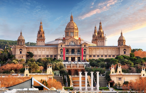 Picture columns, stairs, architecture, Spain, Palace, Barcelona, National Museum