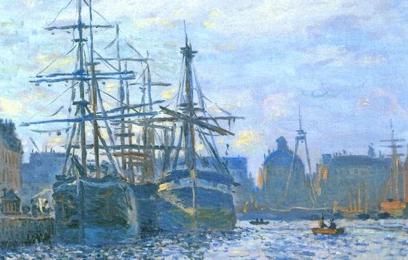 Picture sea, the sky, landscape, the city, ship, sailboat, picture, port, Claude Monet