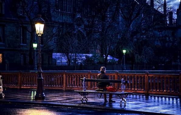Picture road, bench, mood, France, Paris, lantern, male, sitting