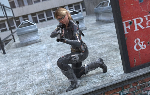Picture roof, look, girl, rendering, weapons, glasses, costume