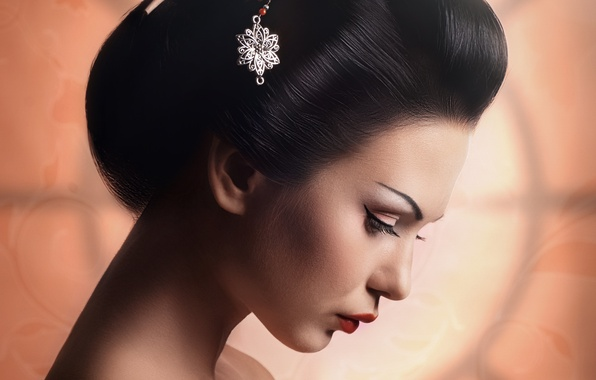 Picture girl, makeup, hairstyle, geisha, profile