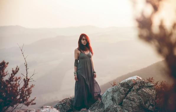 Picture girl, nature, stones, dal, haze, redhead, Lorène