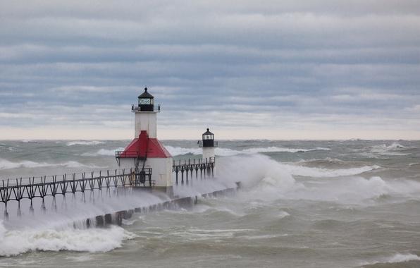 Picture sea, storm, pierce, beacons
