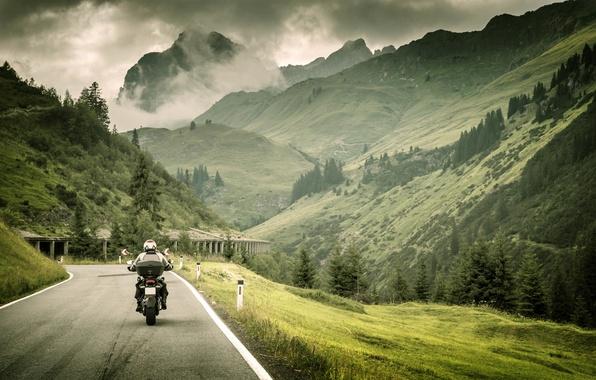 Photo Wallpaper Road Grass Landscape Mountains Nature Markup Blur