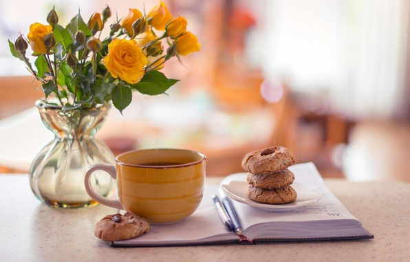 Picture tea, coffee, roses, yellow, cookies, Cup, Notepad, vase, handle, cakes