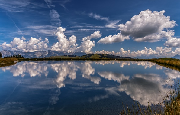 Picture clouds, mountains, lake, reflection, Austria, Alps, Austria, Alps, Tyrol, Tyrol, Hohe Salve