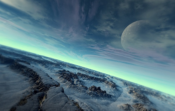 Picture cold, the sky, surface, snow, stones, planet