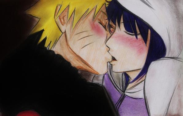 Picture girl, kiss, anime, art, guy, Naruto, Naruto, Naruto Uzumaki, Hinata, Hyuuga Hinata