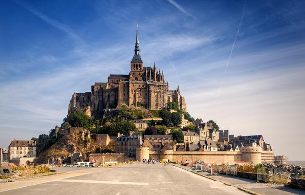 Picture the sky, castle, France, Normandy, Mont-Saint-Michel