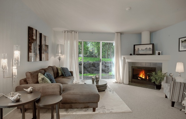 Picture design, house, style, Villa, interior, fireplace, living room