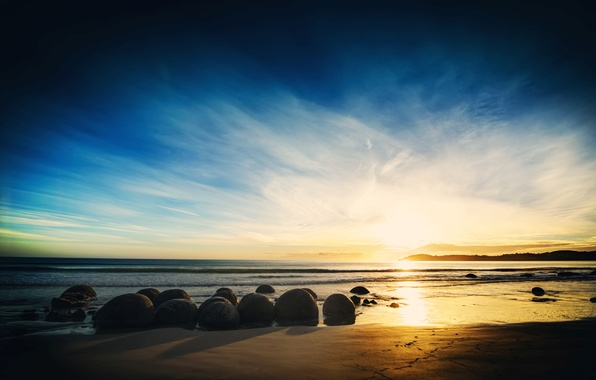 Picture sand, sea, the sky, water, clouds, landscape, sunset, nature, stones, background, widescreen, Wallpaper, horizon, wallpaper, …