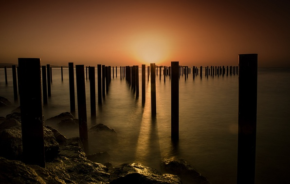 Picture sea, sunset, shore, posts