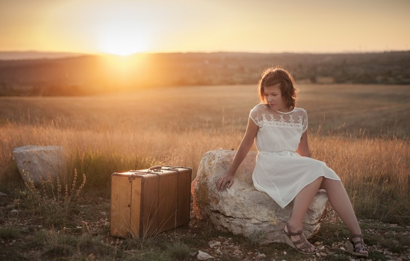 Picture girl, sunset, mood, suitcase