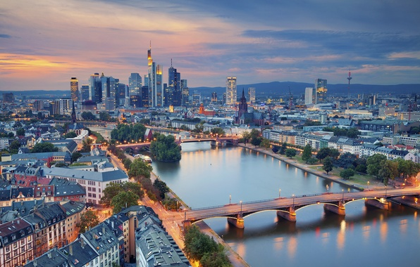 Picture river, building, Germany, panorama, bridges, Germany, Frankfurt am main, Frankfurt am Main, Main River, the ...