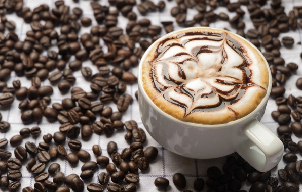 Picture foam, coffee, chocolate, grain, Cup, cappuccino