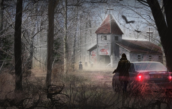 Picture machine, girl, trees, branches, gun, art, Church, abandoned