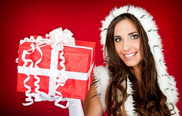 Picture girl, gift, Wallpaper, new year, brunette