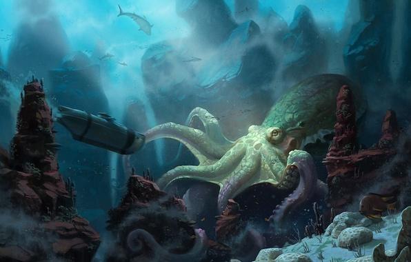 Picture ship, corals, art, octopus, submarine, sharks, underwater world, under water, unidcolor