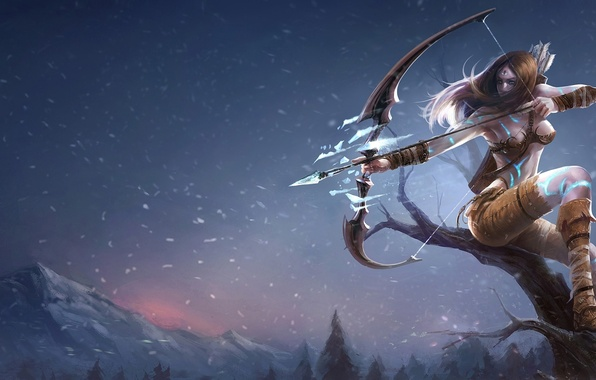 Picture ice, girl, snow, mountains, tree, bow, Archer, league of legends