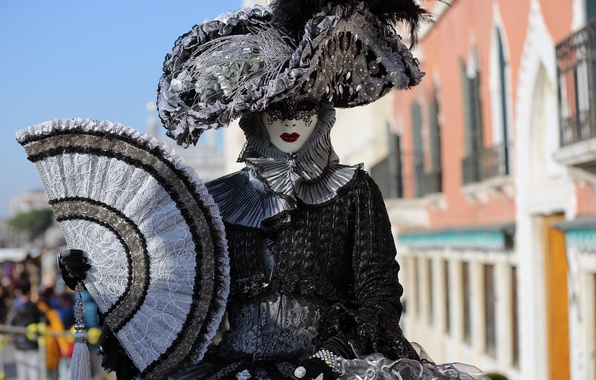 Picture girl, mask, costume, carnival