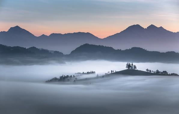 Picture mountains, fog, Church, Slovenia, Carpathians