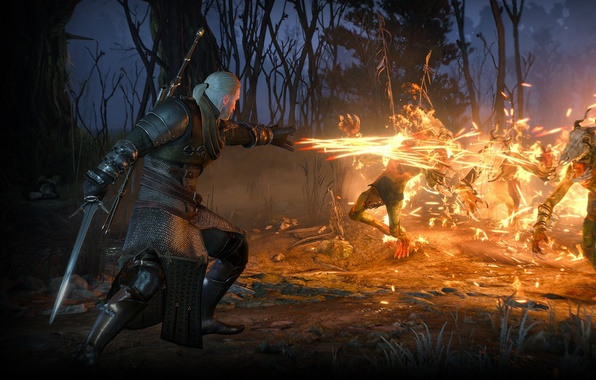 Picture fire, the Witcher, rpg, Geralt, Igny, the wild hunt, wild hunt, the witcher 3, cd …
