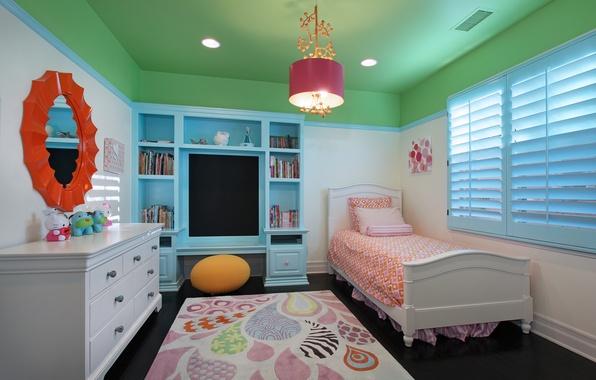 Picture photo, Design, Bed, Chandelier, Interior, Bedroom, Children's