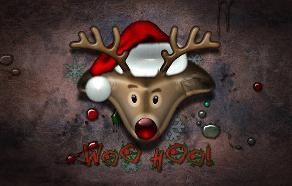 Picture holiday, new year, deer, new year, Santa, cap, holiday, deer