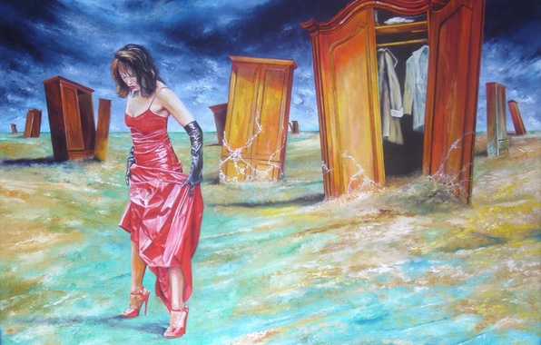 Picture girl, abstraction, clothing, figure, dress, art, shoes, gloves, in red, lockers, Vladimir Kuklinski