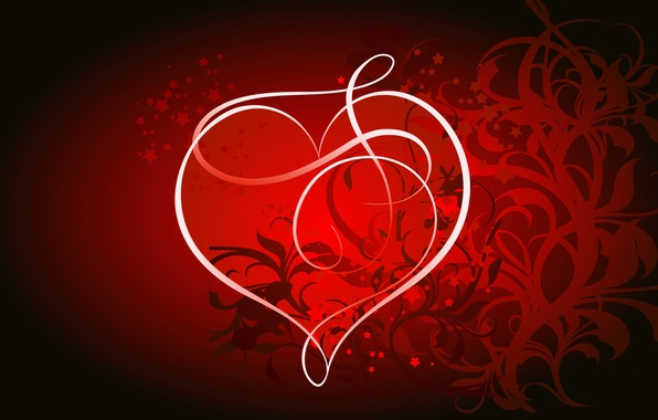 Picture light, line, abstraction, Wallpaper, heart, vector, bending, twilight, lovers, monogram, Valentin