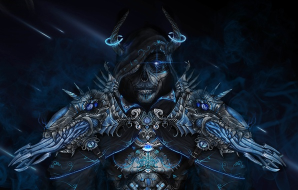 Picture monster, art, hood, horns, undead