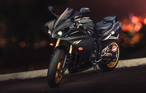 Picture Yamaha, black, front, Yamaha, YZF-R1, sport bike