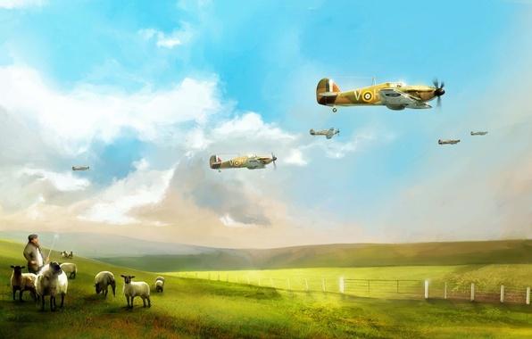 Picture the plane, art, British, Hawker Hurricane, interceptor, RAF, WW2, single-seat fighter, beautiful background, sky flight