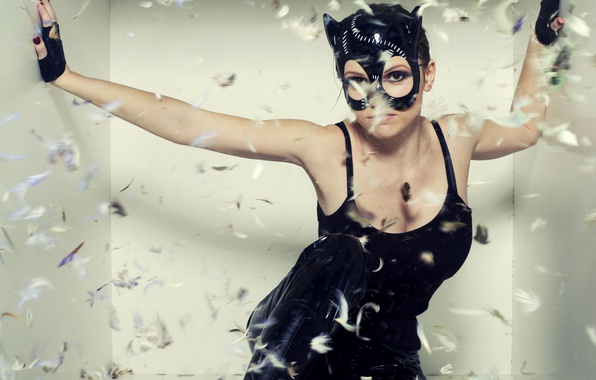 Picture girl, pose, boots, feathers, Mike, mask, fluff, costume, gloves, in black, Catwoman, Catwoman