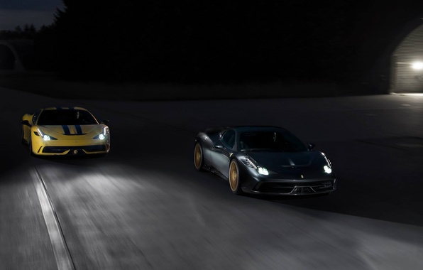 Picture road, yellow, grey, ferrari, Ferrari, grey, yellow, headlights, 458 speciale