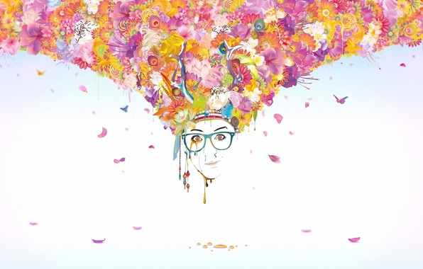 Picture butterfly, flowers, face, style, paint, petals, glasses, style, art, flowers, face, glasses, butterflies