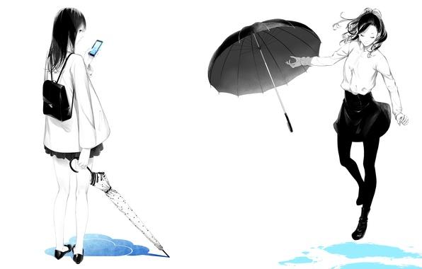 Picture girls, puddles, umbrellas, phone, backpack, art, sawasawa