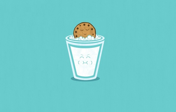 Picture Minimalism, Art, Blue, Smile, A Glass Of Milk, Cookie
