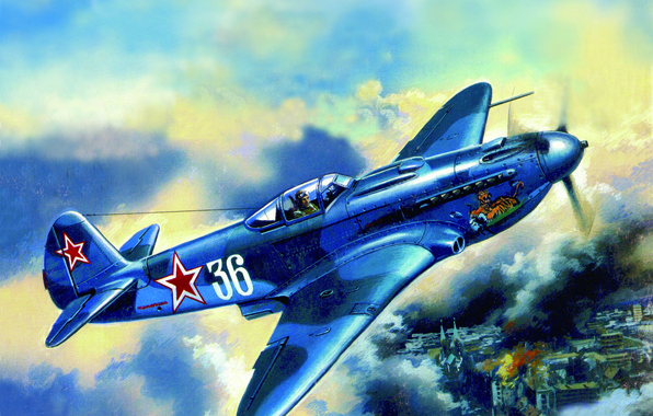 Picture the sky, the city, fire, fire, war, smoke, figure, building, fighter, the plane, Soviet, LAGG-3