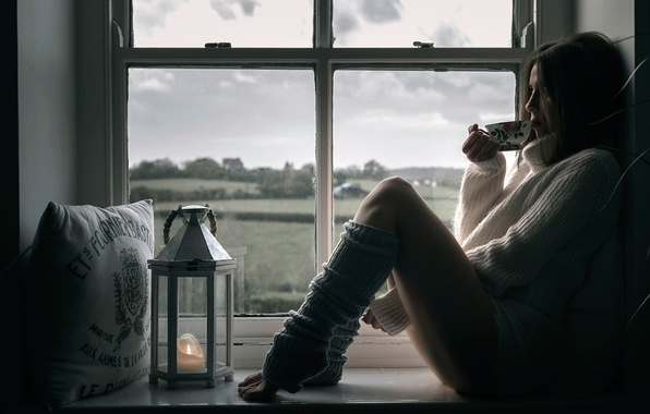 Picture girl, window, Cup, legs, leg warmers, cup of tea