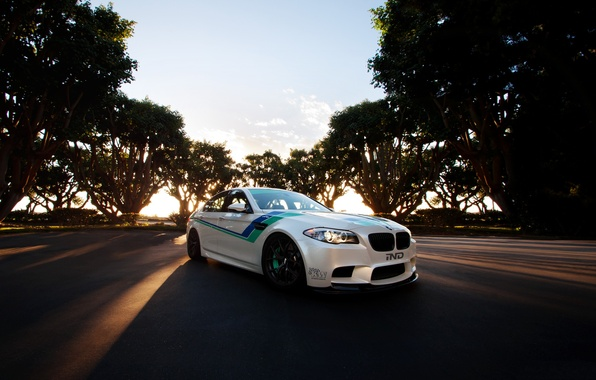 Picture white, the sky, clouds, trees, sunset, bmw, BMW, white, front view, f10